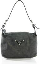 Prada Gray Cotton Zipper Top Single Strap Small Denim Shoulder Handbag