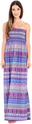 GirlzWalk Women's Strapless Maxi Dress Ladies Sheering Boob Tube Bandeau Printed Long Dress (Purple Aztec SM 8-10)