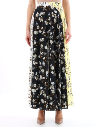 Off-White Contrast Print Maxi Skirt