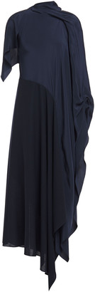Roland Mouret Calhern Draped Silk Crepe De Chine And Wool-crepe Midi Dress