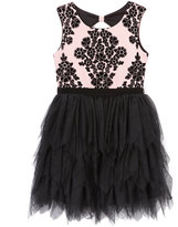 Beautees Blush & Black Floral Tiered Dress - Girls