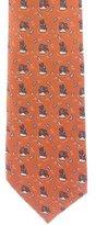 Hermes Bear Print Silk Tie