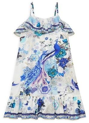Camilla Little Girl's & Girl's White Side Moon Floral-Print Shift Dress