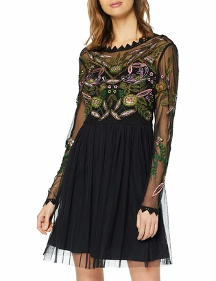 Frock and Frill Women's Felicity Long Sleeve Embroidered Maxi Dress with V Back Party
