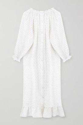Sleeper Ruffled Floral-print Linen Midi Dress - White