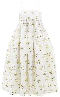 Cecilie Bahnsen - Sofie Floral Fil-coupe Cotton-blend Midi Dress - Womens - Yellow White