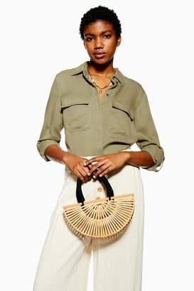 Topshop Womens Khaki Utility Double Pocket Shirt - Khaki