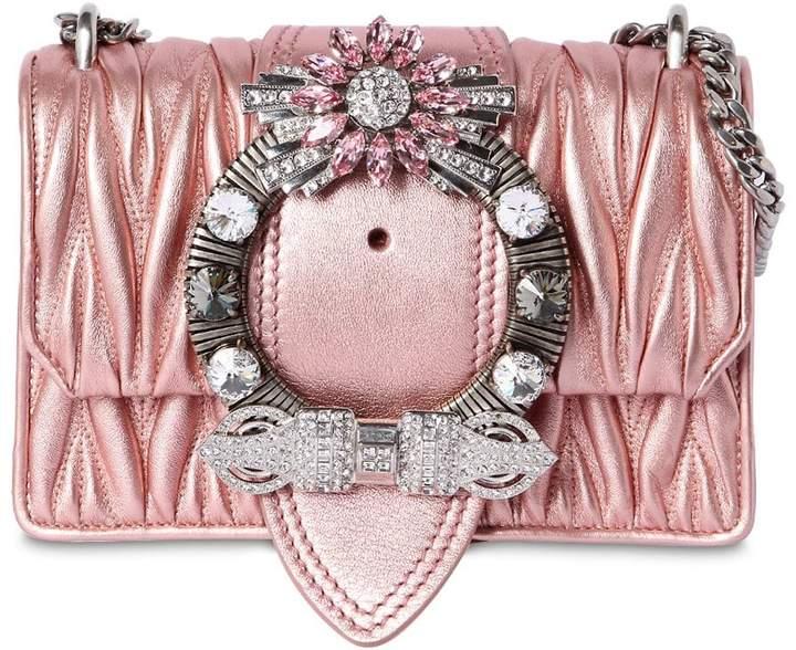 Miu Miu Med Miu Lady Quilt Metallic Leather Bag