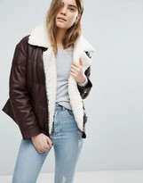 Asos Leather Look Padded Jacket with Aviator Styling and Borg Liner
