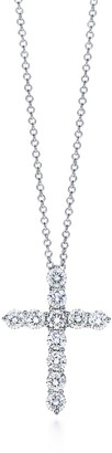 Tiffany & Co. Cross pendant in platinum with diamonds, medium