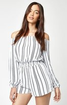 La Hearts Poet Sleeve Off-The-Shoulder Romper