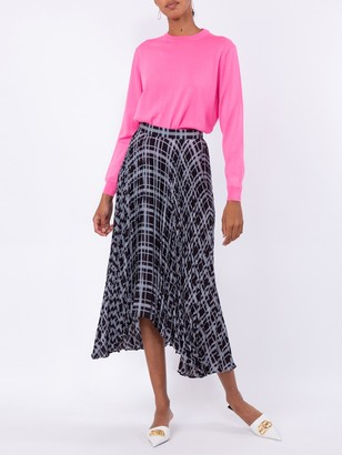 Proenza Schouler Blue And Black Pleated Chiffon Skirt
