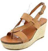 Lucky Brand Naturale Womens Size 9.5 Tan Open Toe Leather Wedges Heels Shoes