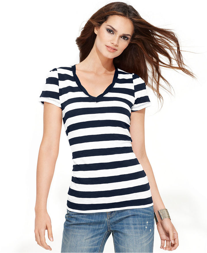INC International Concepts Petite Top, Short-Sleeve Striped Tee