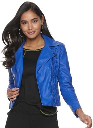 Rock & Republic Women's Lace-Up Faux-Leather Moto Jacket