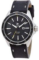 Rip Curl Men's 'DVR-100 Surf' Quartz Stainless Steel and Leather Sport Watch, Color:Black (Model: A2893-BLK)