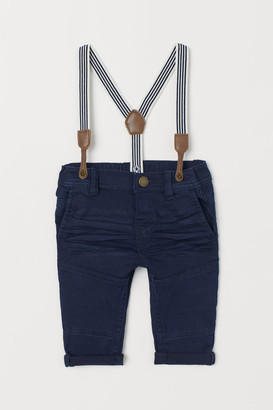 H&M Twill Pants with Suspenders - Blue
