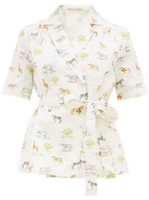 Emilia Wickstead Eudora Safari-print Linen Shirt - Womens - Cream Print