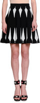 Alexander McQueen Feather Jacquard Fit & Flare Skirt, Black/White