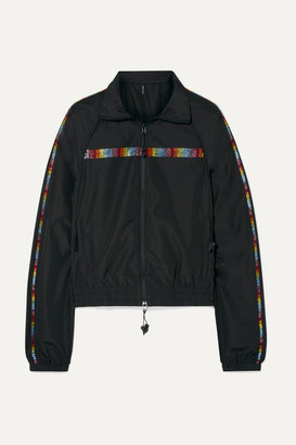 Adam Selman Crystal-embellished Shell Track Jacket - Black