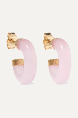 Loren Stewart 14-karat Gold Rose Quartz Hoop Earrings