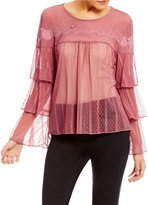 Takara Tiered-Sleeve Dotted Mesh Top