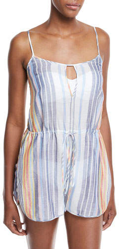 Diane von Furstenberg Keyhole Sleeveless Striped Cotton-Silk Romper
