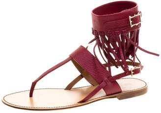 Valentino Burgundy Leather Fringe Detail Ankle Wrap Flat Sandals Size 37