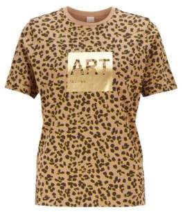 BOSS Leopard-print T-shirt in Supima cotton with foil artwork
