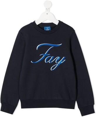 Fay Kids Logo Print Crewneck Sweatshirt