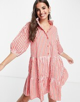 Thumbnail for your product : Monki Sosso mini smock dress in red gingham print