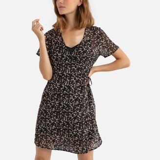 Vila Floral Print Wrapover Dress with V-Neck