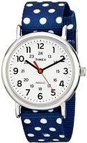 Timex Women's TW2P66000 Weekender Blue/White Dots Nylon Slip-Thru Strap Watch