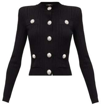Balmain Blason-button Rib-knitted Cardigan - Womens - Black