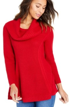 Style&Co. Style & Co Mixed-Stitch Cowlneck Tunic, Created For Macy's