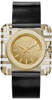 Tory Burch Izzie Leather-Strap Golden Watch, Black