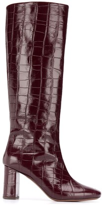 L'Autre Chose Knee-Length Croc Effect Boots