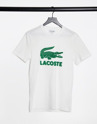 Lacoste large croc logo tee in white