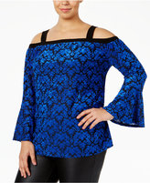 NY Collection Plus Size Cold-Shoulder Bell-Sleeve Top