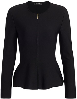 St. John Sculpted Milano Knit Zip-Front Jacket