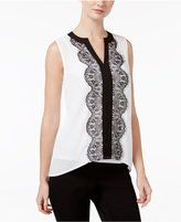 INC International Concepts Petite Colorblocked Lace Top, Only at Macy's