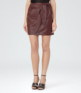 Reiss Leonie Belted Leather Mini Skirt