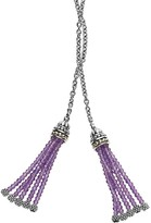 """Lagos 18K Gold and Sterling Silver Caviar Icon Lariat Necklace with Amethyst Tassels, 42"""""""