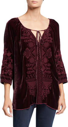 Johnny Was Plus Size Daniella Embroidered Velvet Peasant Blouse