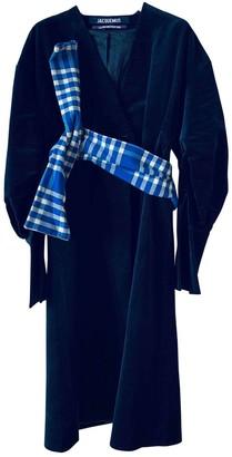 Jacquemus La Reconstruction Blue Velvet Coat for Women