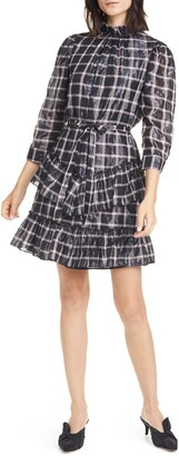 La Vie Rebecca Taylor Metallic Plaid 3/4 Sleeve Ruffled Dress