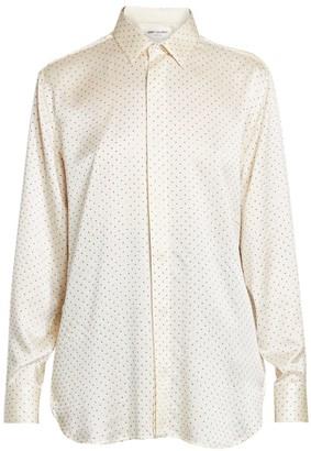 Saint Laurent Nailhead Studded Silk Blouse