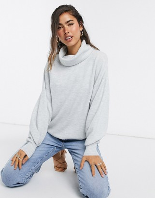 ASOS DESIGN oversized jumper with cowl neck in grey