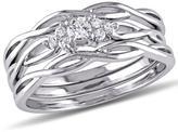 Ice Julie Leah 1/6 CT TW Diamond 10K White Gold 3-Piece Braided Vine-Like Bridal Set