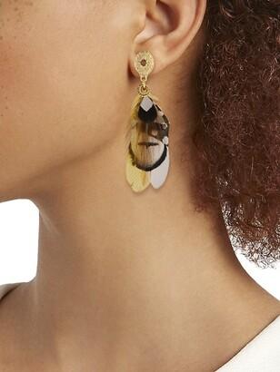 Gas Bijoux Sao 24K Goldplated & Feather Drop Earrings